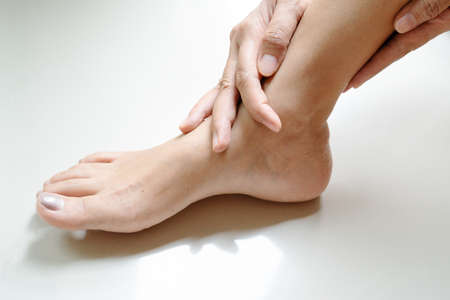 women leg ankle injury/painful, women touch the pain ankle leg