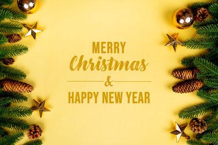 Christmas background, pine tree with xmas decoration on yellow background 版權商用圖片