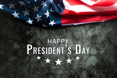 Presidents' Day Typography abstract Background with American Flag