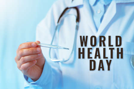 World Health Day concept, Coronavirus stop infection. doctor holding thermometer and stethoscope against infectious diseases and flu