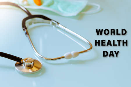 World Health Day concept, stethoscope mask and medicine, healthcare accessories on white background