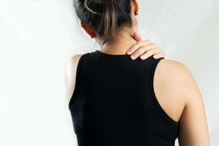 young women neck and shoulder pain injury, healthcare and medical concept