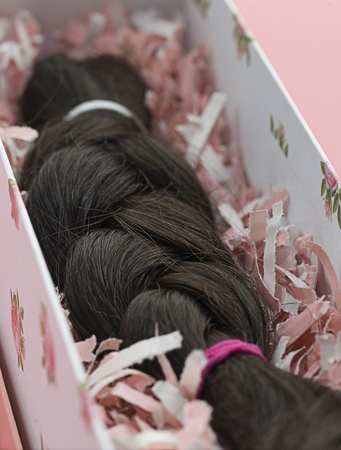 Lock of black braided hair ready to be donated for cancer survivor