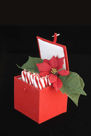 red and white peppermint sticks placed horizontally in a red holiday box with small poinsettia   photo