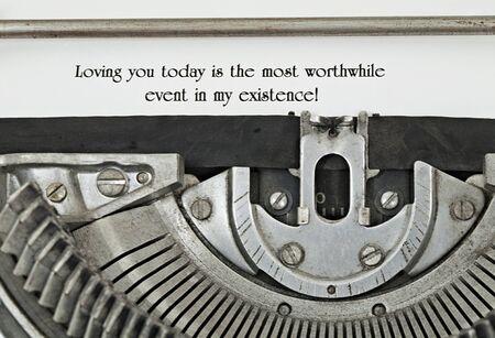 Loving statement typed on vintage electric typewriter  Closeup Stock Photo - 14299057