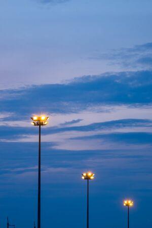 street light post on a colorful sky after dusk