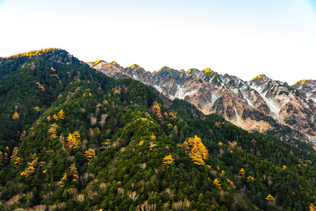 Mountain scenery, Autumn. Taken at Kamikochi, Northern Japan Alps of Nagano Prefecture Stock Photo