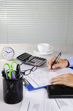 a businessman working on his desk Stock Photo