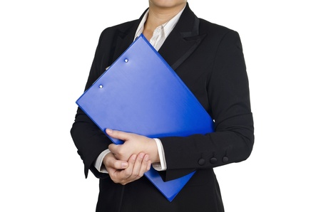 a businesswoman hold a document photo