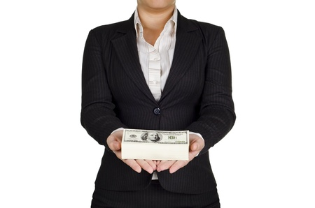 a businesswoman hold money in her hand photo