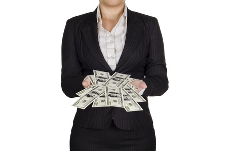earn money: a businesswoman earn a lot of money