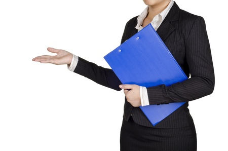 royalty free: a businesswoman hold a document while presentation