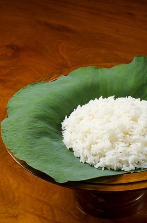 portrait of steam rice on lotus leaf Stock Photo