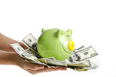 Piggy bank with money banknotes