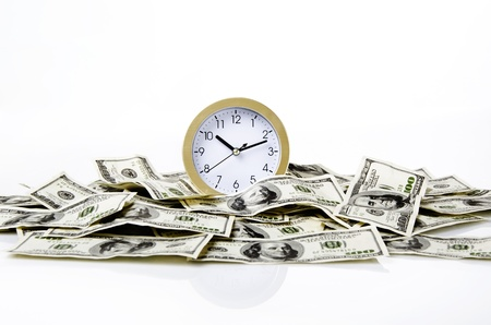 time and money with white background