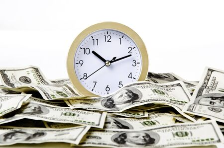 Concept of time is money with white background