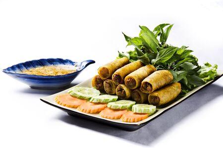 spring roll: Asian involtino primavera fritto con verdure Archivio Fotografico