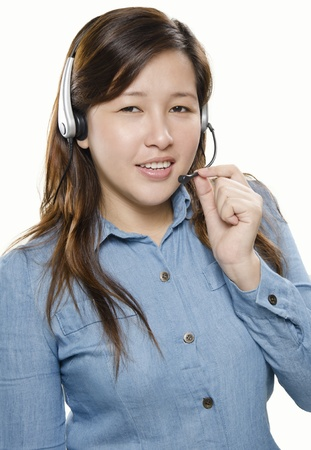 Portrait of pretty woman call center with headset