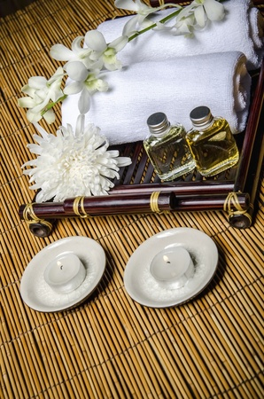 votive:  Bird-eye view of spa products Stock Photo