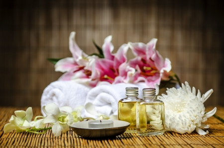 Candle and massage oil photo