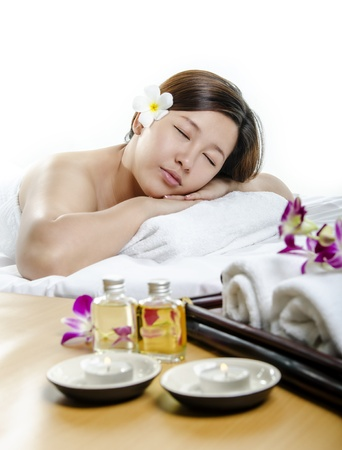 Closeup of beautiful lady in concept of spa and massage photo