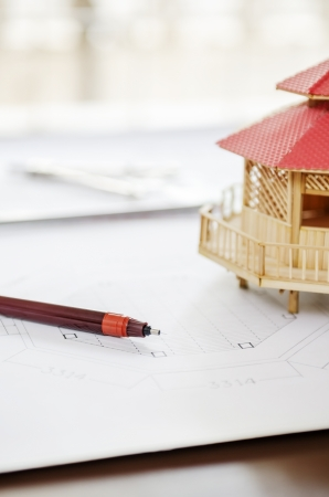 modular home: Drawing pen and modular home Stock Photo