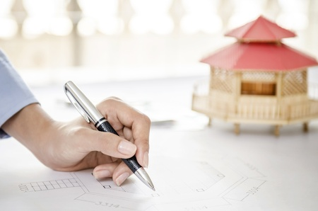 modular home: Modular home and drawing Stock Photo