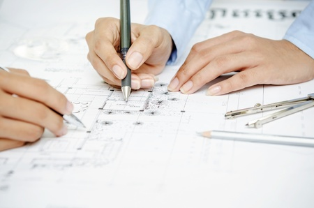 drafting tools: Working on architecture drawing plan, blueprint
