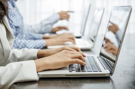 Business people working hand on laptop Standard-Bild