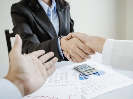 Business people shake hands for the first meet