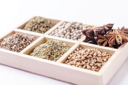 oblique: oblique six-blocks wooden frame collection of spices Stock Photo