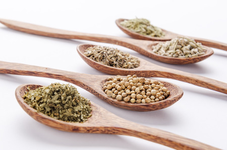 dill seed: parsley, coriander seed, dill seed, dry lavender and rosemary Stock Photo