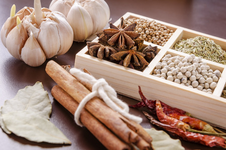 grounded: white wooden frame collection of spices Stock Photo