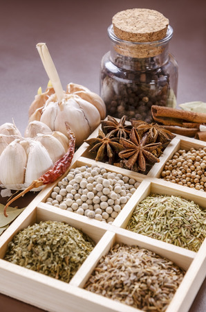 dill seed: white wooden frame collection of spices Stock Photo