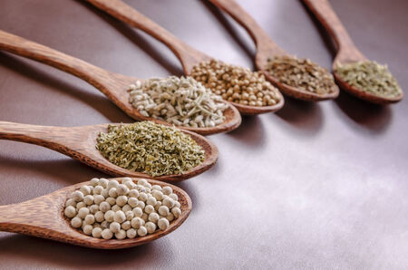 dill seed: white pepper, parsley, dry lavender, coriander seed, dill seed and rosemary