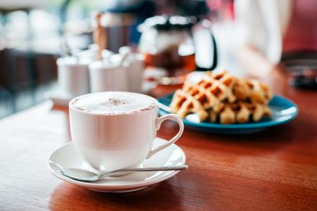 breakfast food: wooden table with prepared simple breakfast food