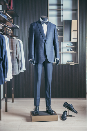 Luxury men fashion suit displaying on mannequin