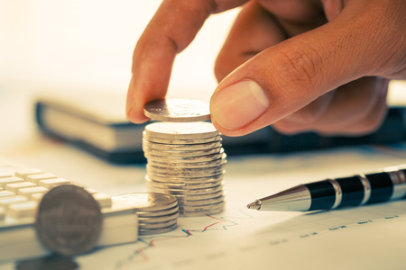 Business concept of making money with coins
