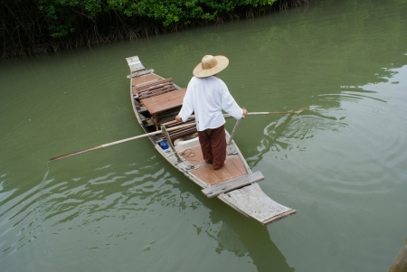 lifestyke to fisherman at mangrove forest in Thailand photo