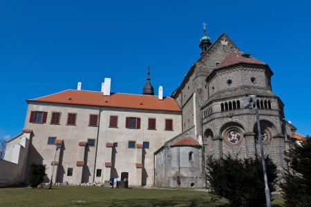 trebic: Procopius Basilica is a romanesque -gothic christian church in Trebic   It was built on the site of the original Virgin Mary Stock Photo