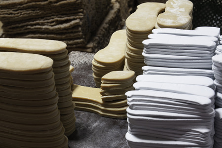 Material of rubber sole in a factory.