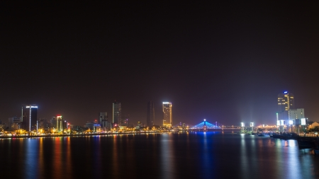 nightview: landscape nightview at Danang, Vietnam Stock Photo