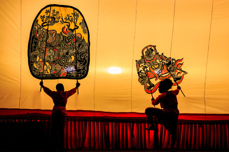 Thai shadow puppet art at Rachaburi province, Thailand