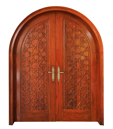star path: Star pattern of wooden Masjid door on isolated white background with clipping path