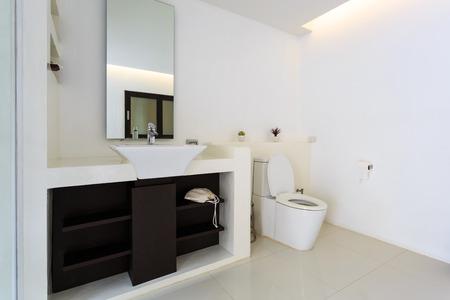 White luxury modern bathroom interior in house