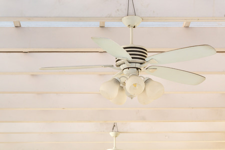 fan ceiling: vintage white ceiling Fan with lamp