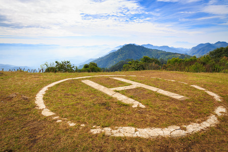 helicopter pad: Helicopter landing pad on mountain in Doi angkhang, Thailand