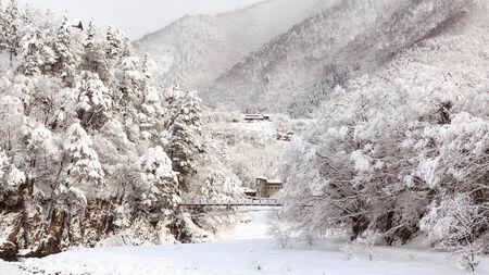 gokayama: Railroad in Shirakawa-go and Gokayama in winter, japan