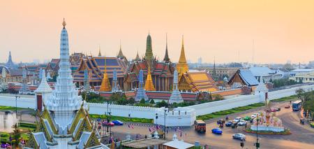 Temple of the Emerald Buddha, ( Wat Phra Kaew) in sunset time, Bangkok, Thailand Editorial