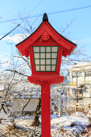 lamp on the pole: Traditional japanese lamp pole in temple, Inuyama, Aichi Prefecture, Japan